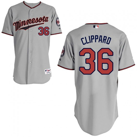 Youth Majestic Tyler Clippard Minnesota Twins Replica Gray Cool Base Road Jersey