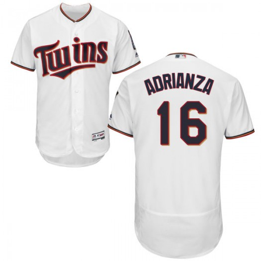 Men's Majestic Ehire Adrianza Minnesota Twins Player Replica White Home Flex Base Collection Jersey